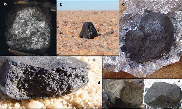 Alguns dos meteoritos do 2008 TC3 encontrados no Sudão