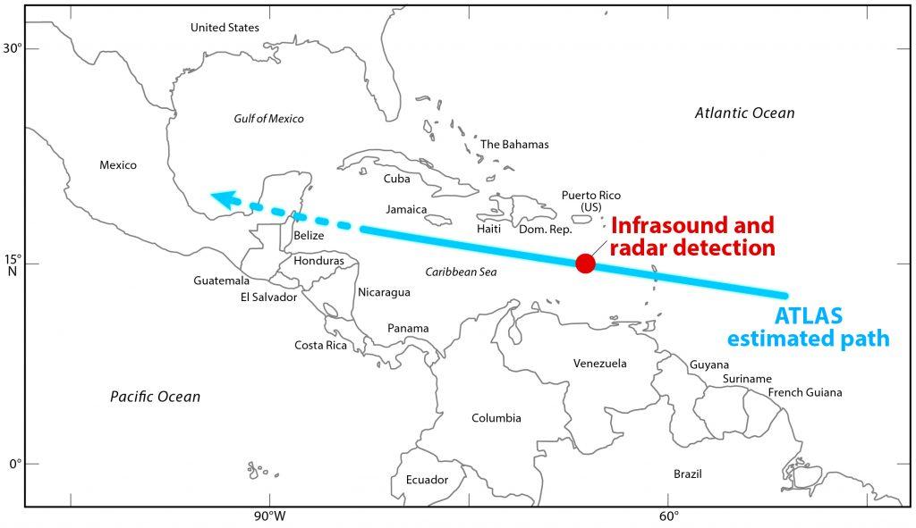 Predição de Impacto do 2019 MO e flash detectado pelo GOES
