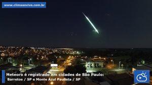 Bólido registrado em Monte Azul Paulista, SP - Créditos: Clima ao Vivo