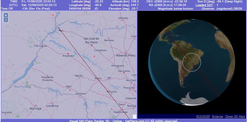 Predição da posição do Starlink-32 no horário da reentrada - Créditos: satflare.com